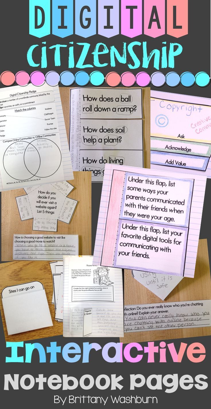 Internet Safety or Digital Citizenship Interactive Notebook Pages K ...