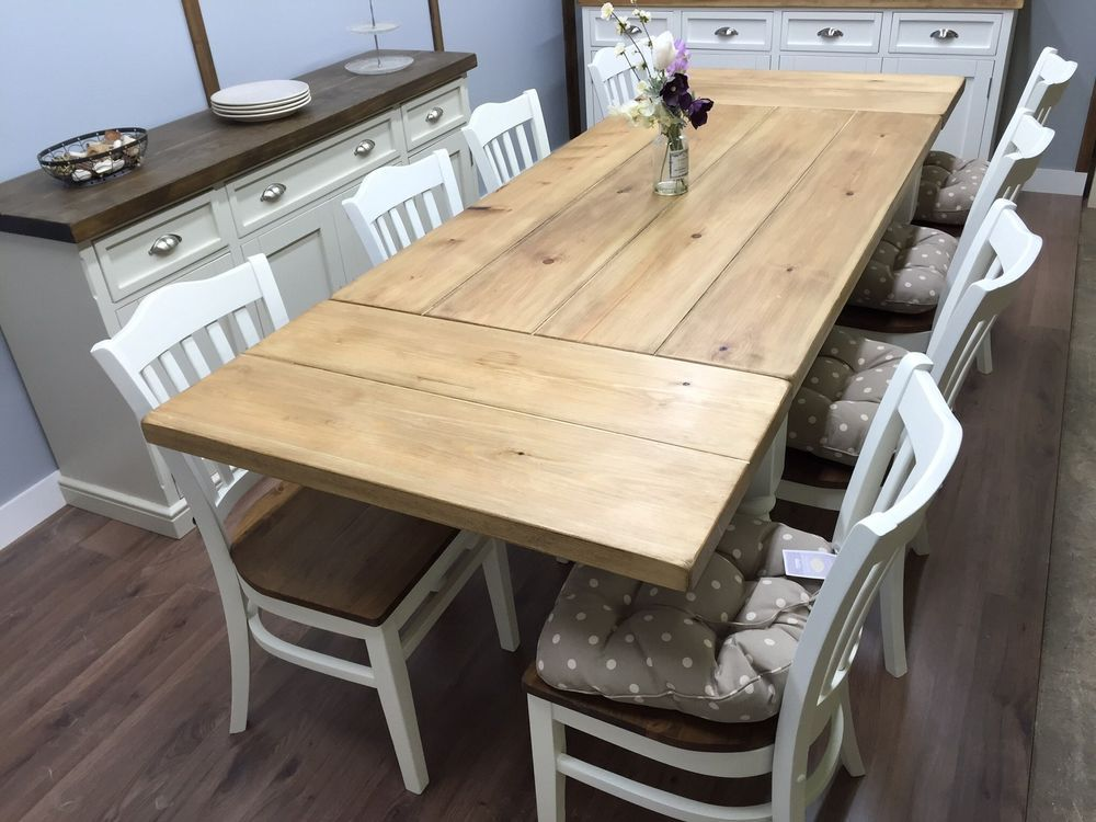 FARMHOUSE TABLE EXTENDABLE 5ft to 8ft  6/8/10 Seater Large SHABBY CHIC OAK PINE