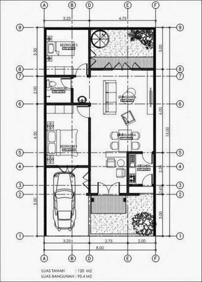 Denah Rumah Minimalis 8x15 1 Lantai Terlihat Minimalis Denah