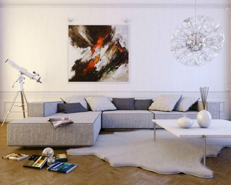 kleines wohnzimmer großes sofa grau teppich bilder wand #interiors - teppich wohnzimmer grau