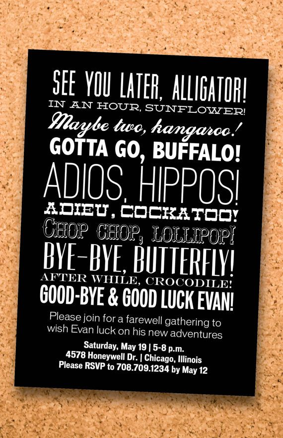 Farewell Party Typography Invitation Custom By Viavaciousdesigns