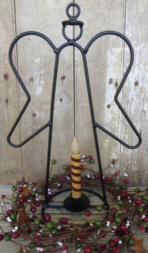 Wrought Iron Candle Holder Primitive Christmas Rustic Guardian Angel Taper Decor