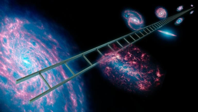 PIA15818: Climbing the Cosmic Distance Ladder (Artist's Concept). Image credit: NASA/JPL-Caltech