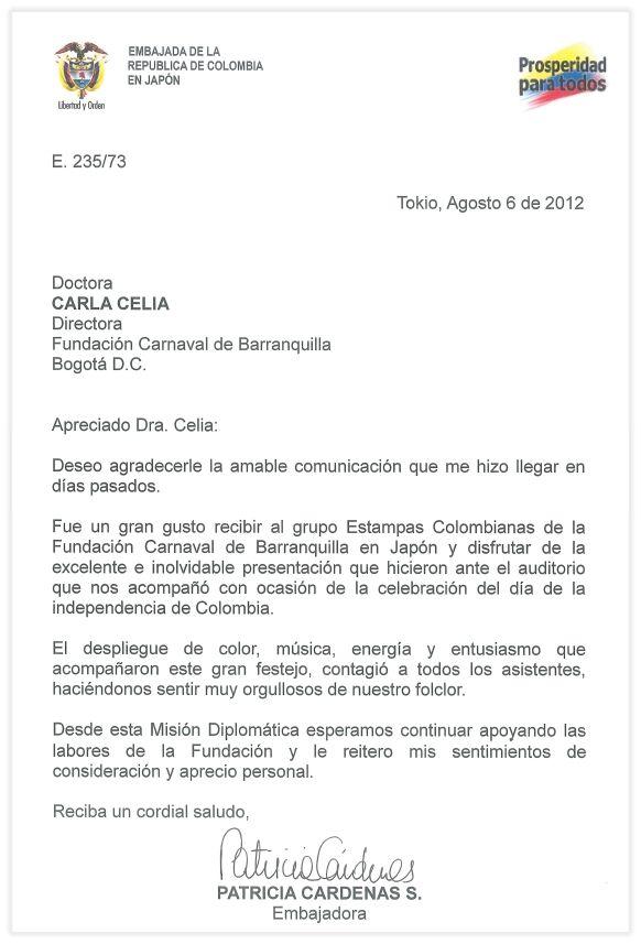 c1c2 modelo de carta formal carta de agradecimiento de patricia crdenas embajadora de colombia en japn