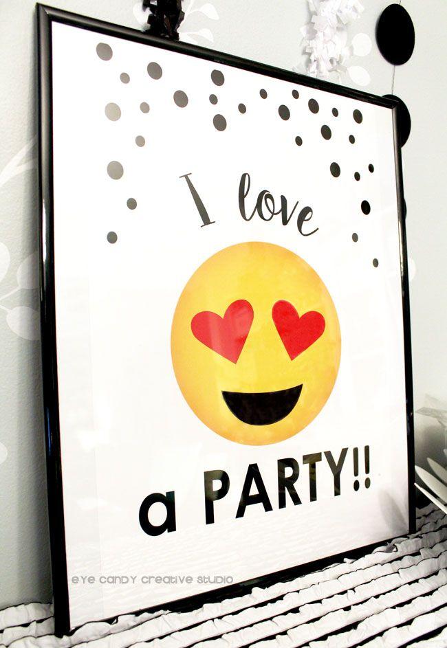 poster for Emoji Birthday party @eyecandycreate #emojis #emojibirthday #emojiparty