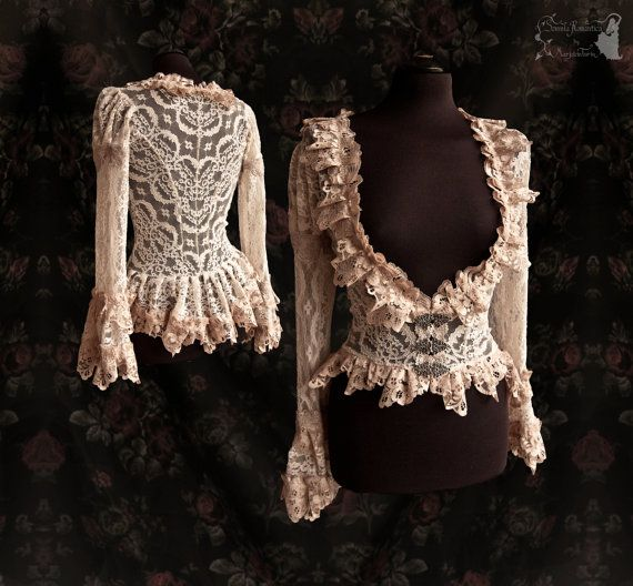 €120.26 EUR plus shipping Cardigan lace, Victorian inspired blouse, ivory nude, cottage chic, Maeror, Somnia Romantica, size medium see item details for measurements