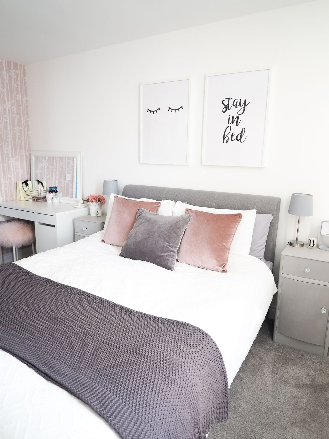 Grey And Pink Bedroom With Wallpaper