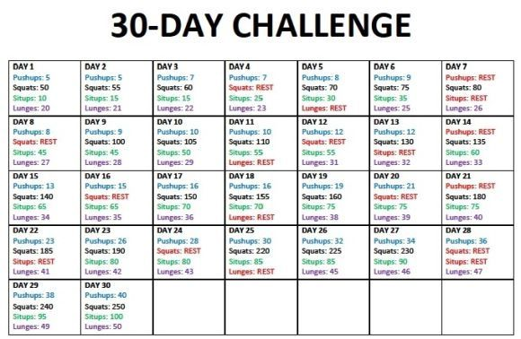 30 Day Challenge Pushups Squats Sit Ups And Lunges By