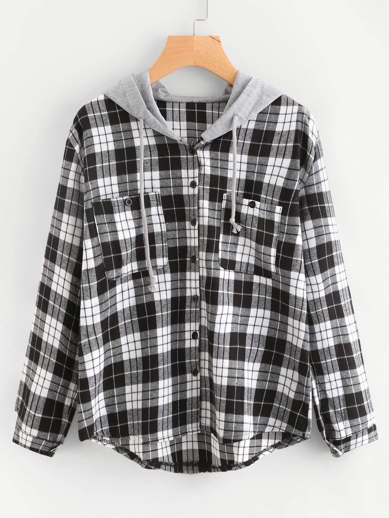Plus Pocket Decoration Hooded Sweatshirt Hooded Sweatshirts Tartan Blouse Fashion [ 1785 x 1340 Pixel ]