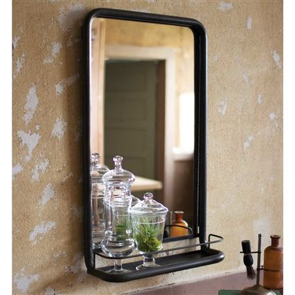 Rustic Metal Frame Farmhouse Mirror With Shelf Bathroom Mirror With Shelf Mirror Wall Bathroom Mirror With Shelf
