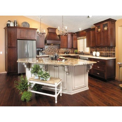 two tone color schemes are very trendy today. here the cabinets
