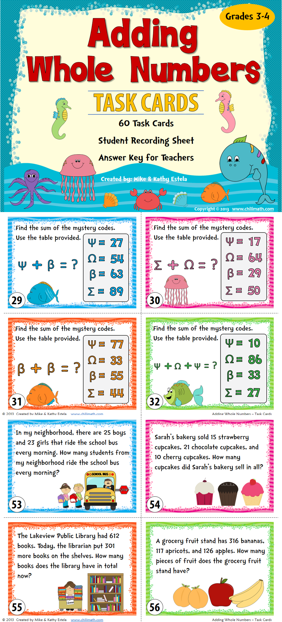 Adding Whole Numbers Task Cards Task cards, Math task