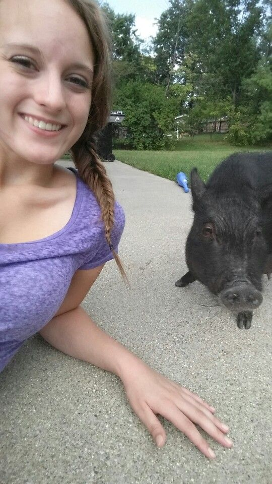 Outside with madeline #MiniPig