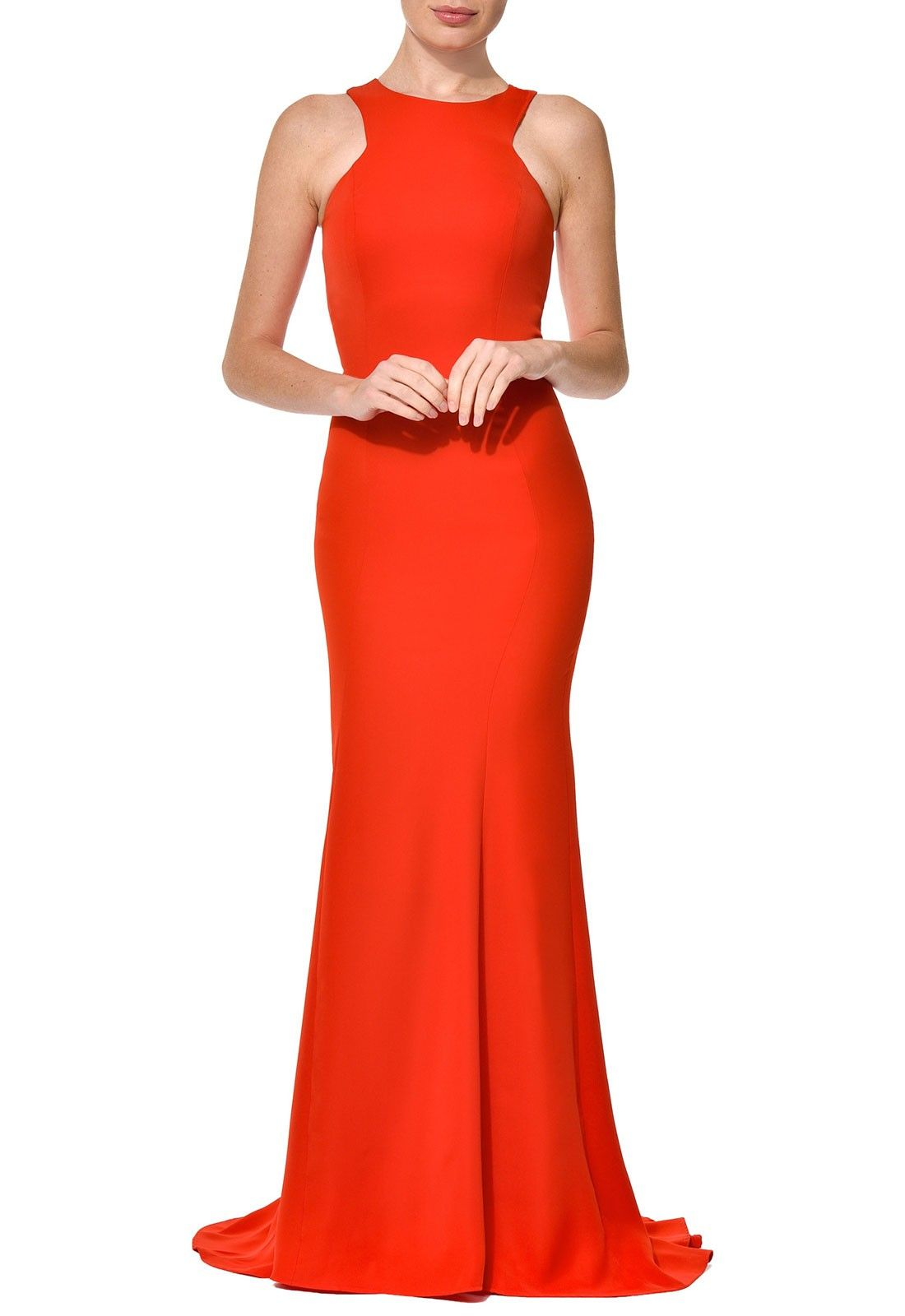 Nadine merabi amie fishtail maxi dress in red lust fishtail lbd