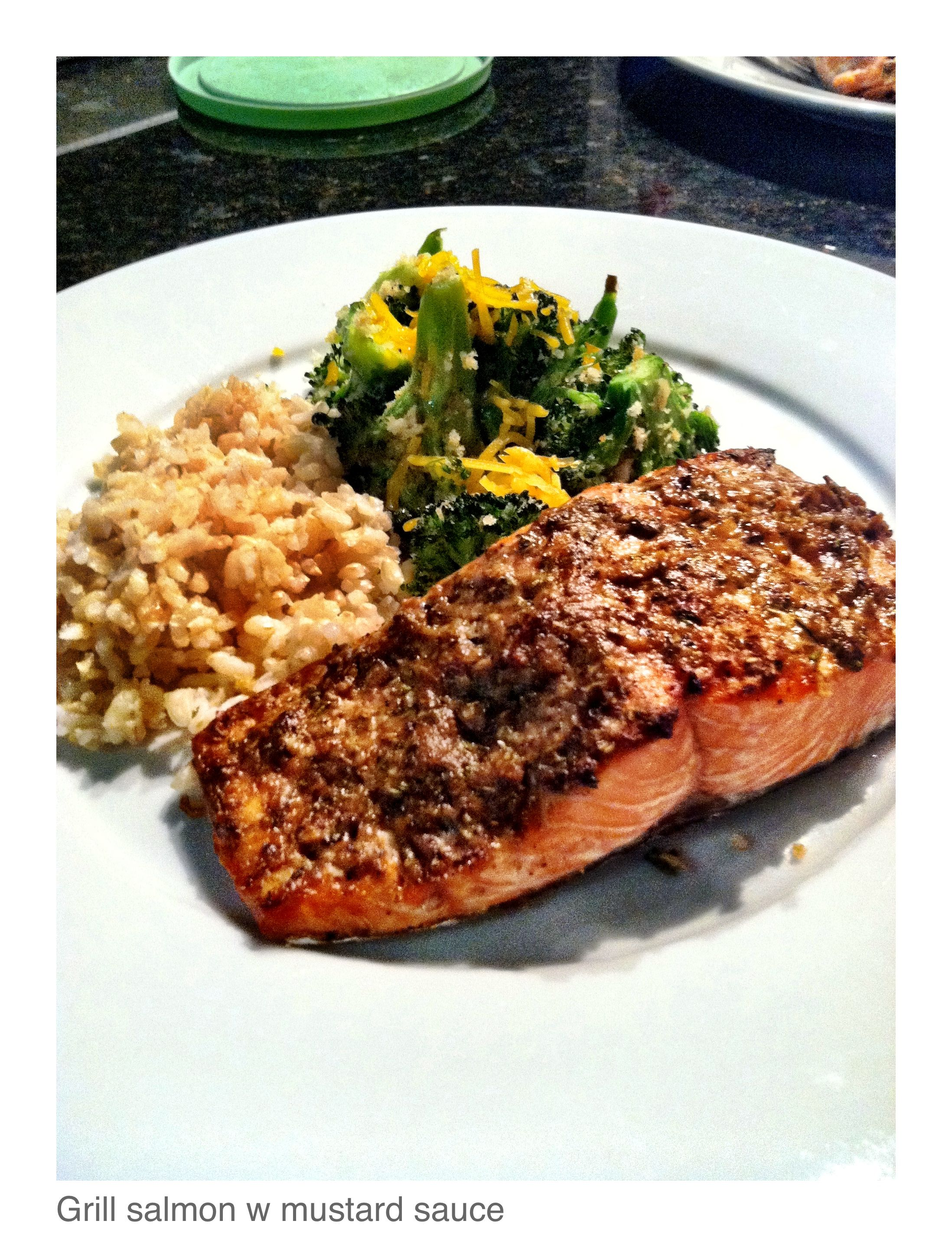 Grilled Salmon w/ Mustard sauce