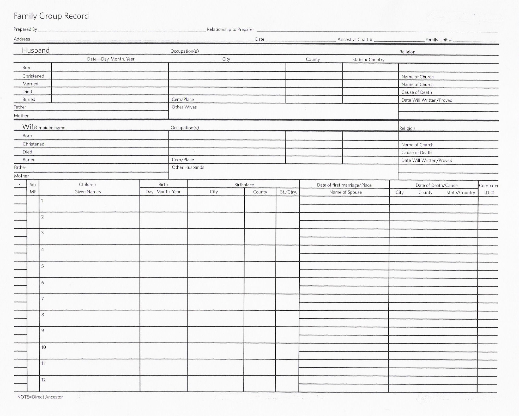 Genealogy Worksheets Siblings