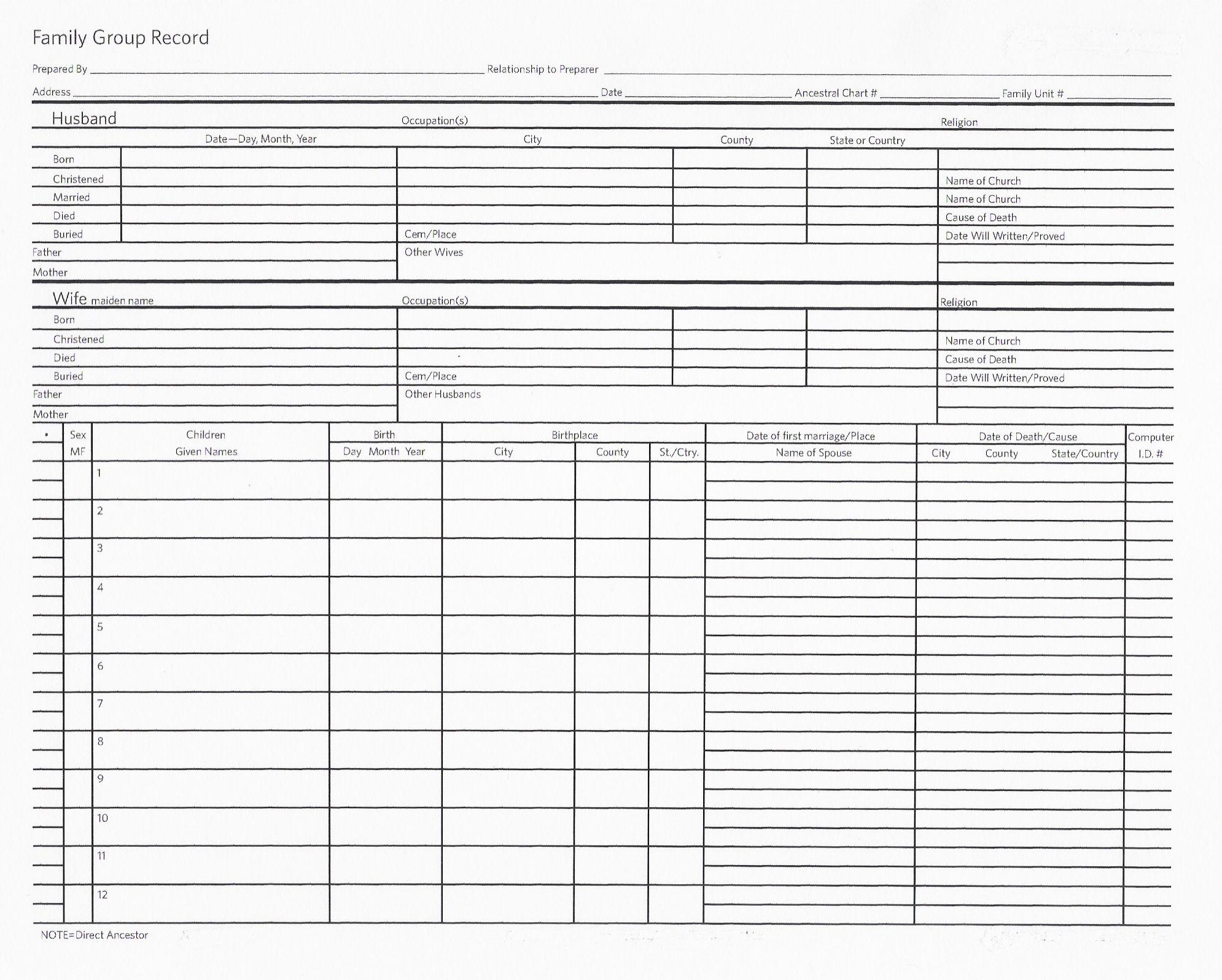 Ancestry Worksheet