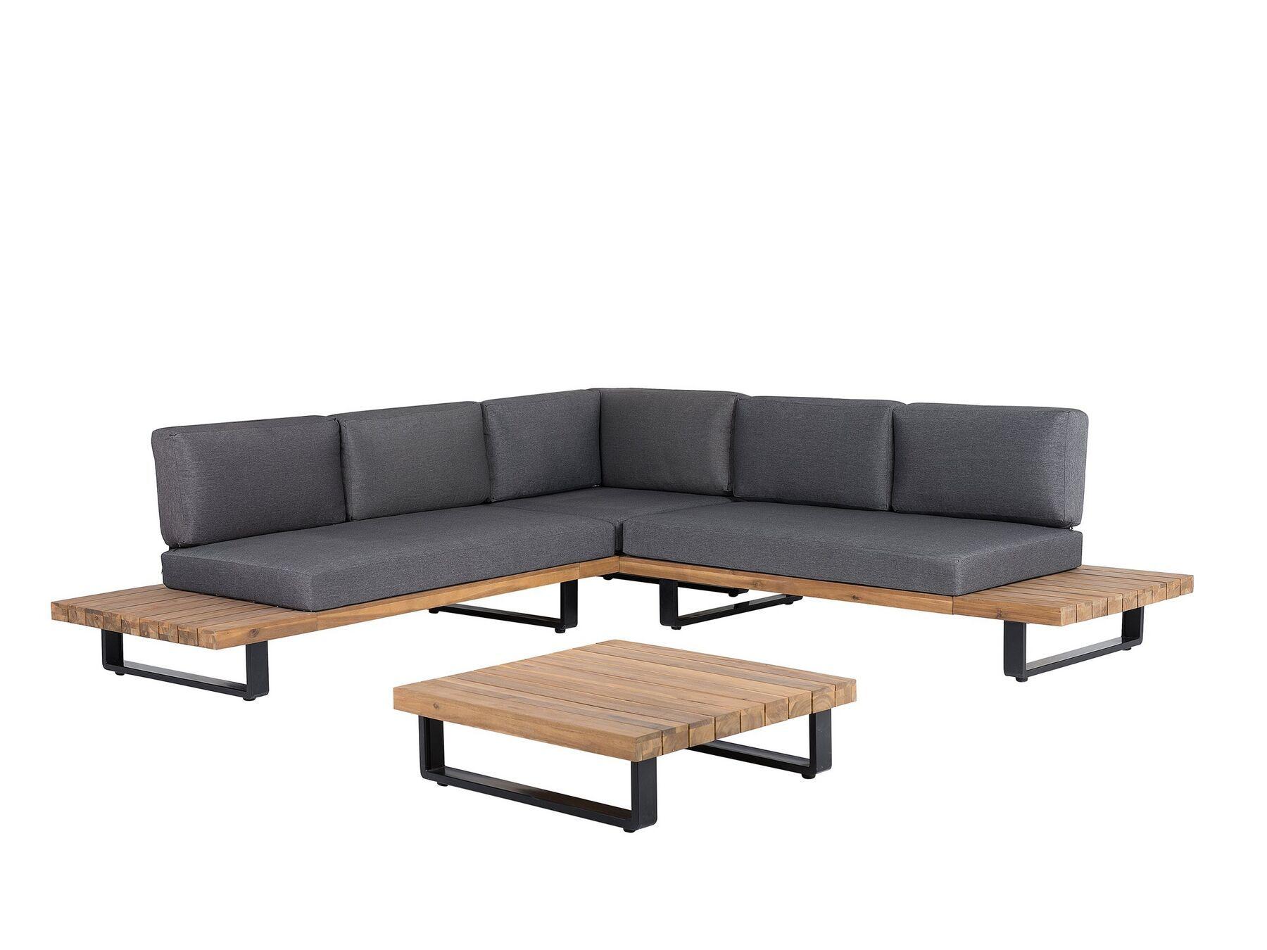 Salon De Jardin Gris Et Bois Clair Mykonos Beliani Fr Gartenmobel Outdoor Sofa Sets Garten Lounge