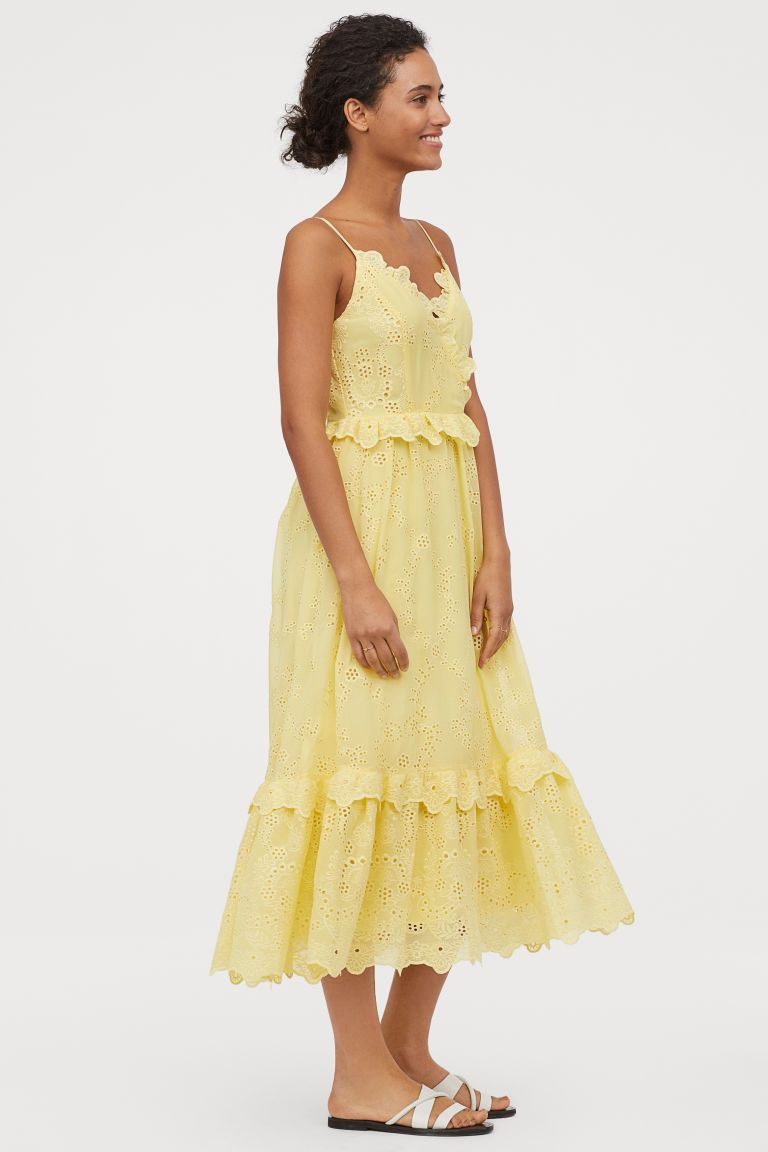 embroidered frilled dress - yellow - ladies | h&m gb