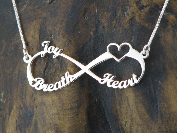 3 Names Silver Infinity Necklace Silver by WEdesignJewelry on Etsy ...