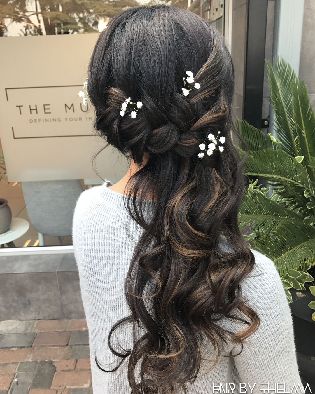 Bridesmaid Hairstyles Side Braided Decorated With Babies Breath Flowers Event Hair Brides