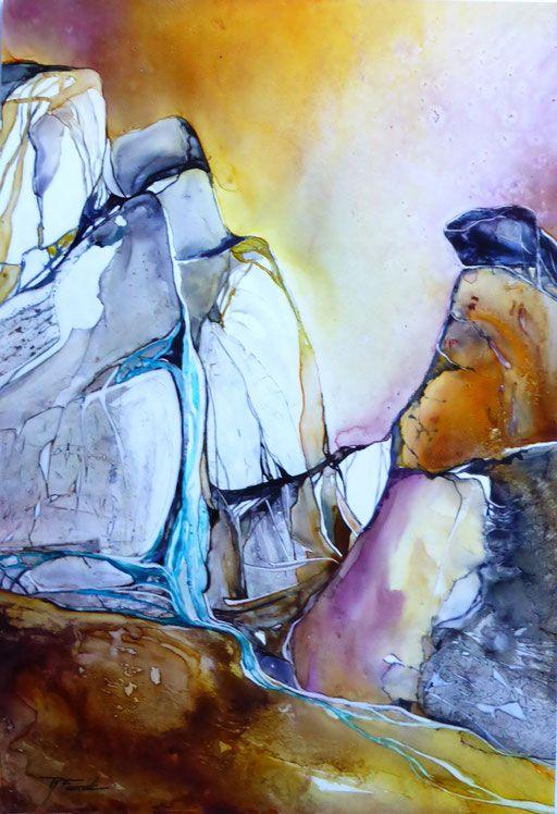 Aquarelles Vernies Sur Papier Yupo Art Et Nature Abstrait