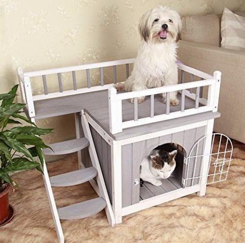 Small Dog Wood House Outdoor Wooden Indoor Comfort Cat Condo Puppy