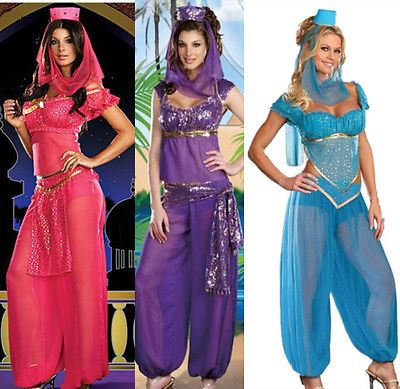 Ladies Arabian Genie Aladdin Blue Fancy Dress Up Hens Party Costume Outfits