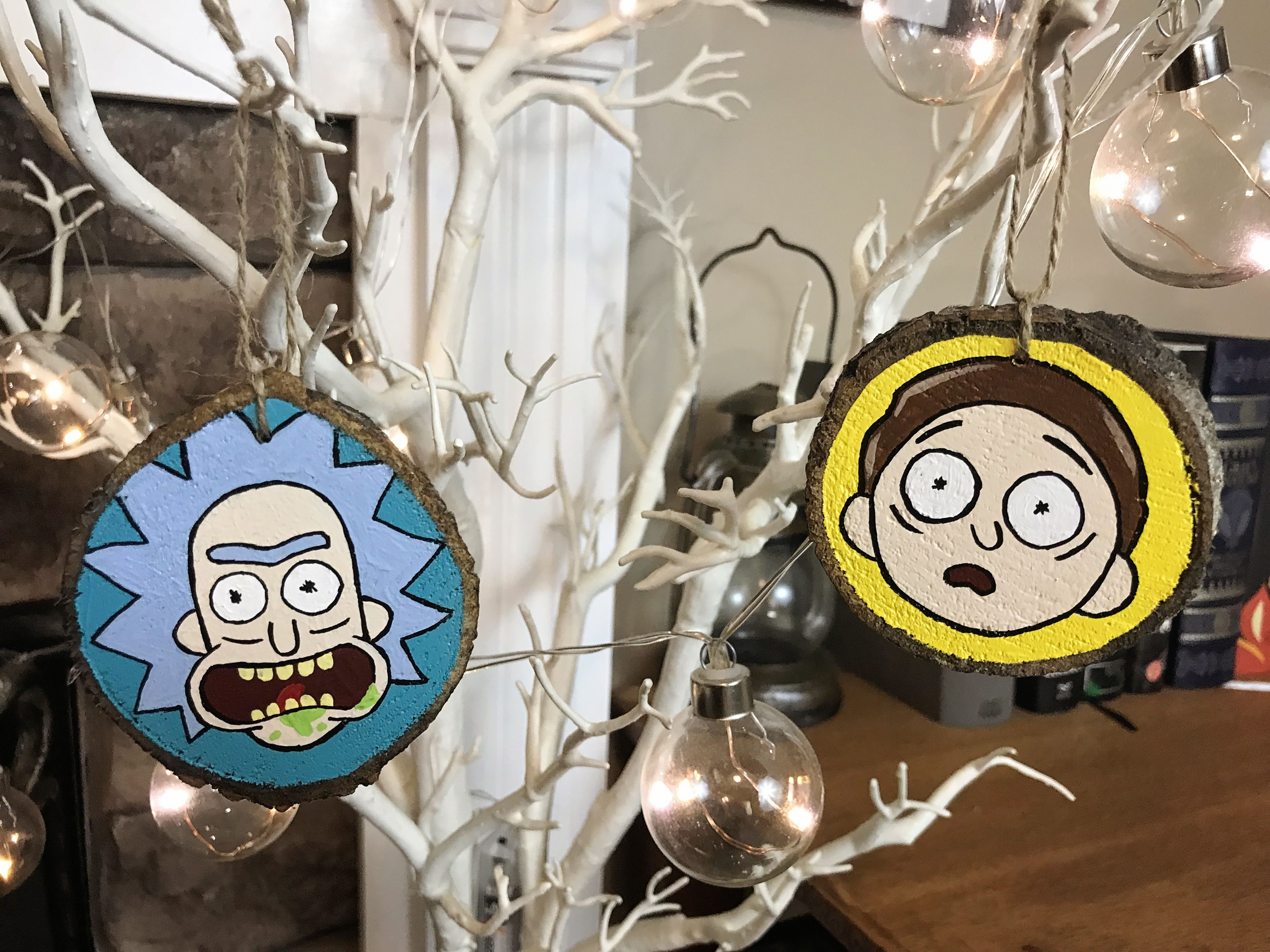 Rick And Morty Christmas Ornaments.Rick Morty Ornaments Set Of 2 Painted Ornaments