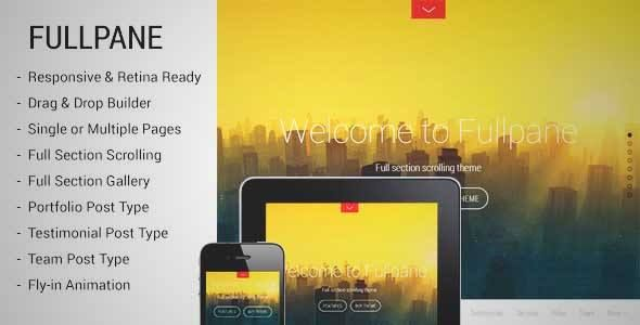 Download and review of Fullpane - Full Section Scrolling Theme, one of the best Themeforest Creatives themes