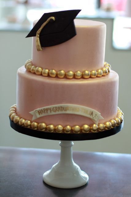gorgeous graduation cake in real with the gold accents for his