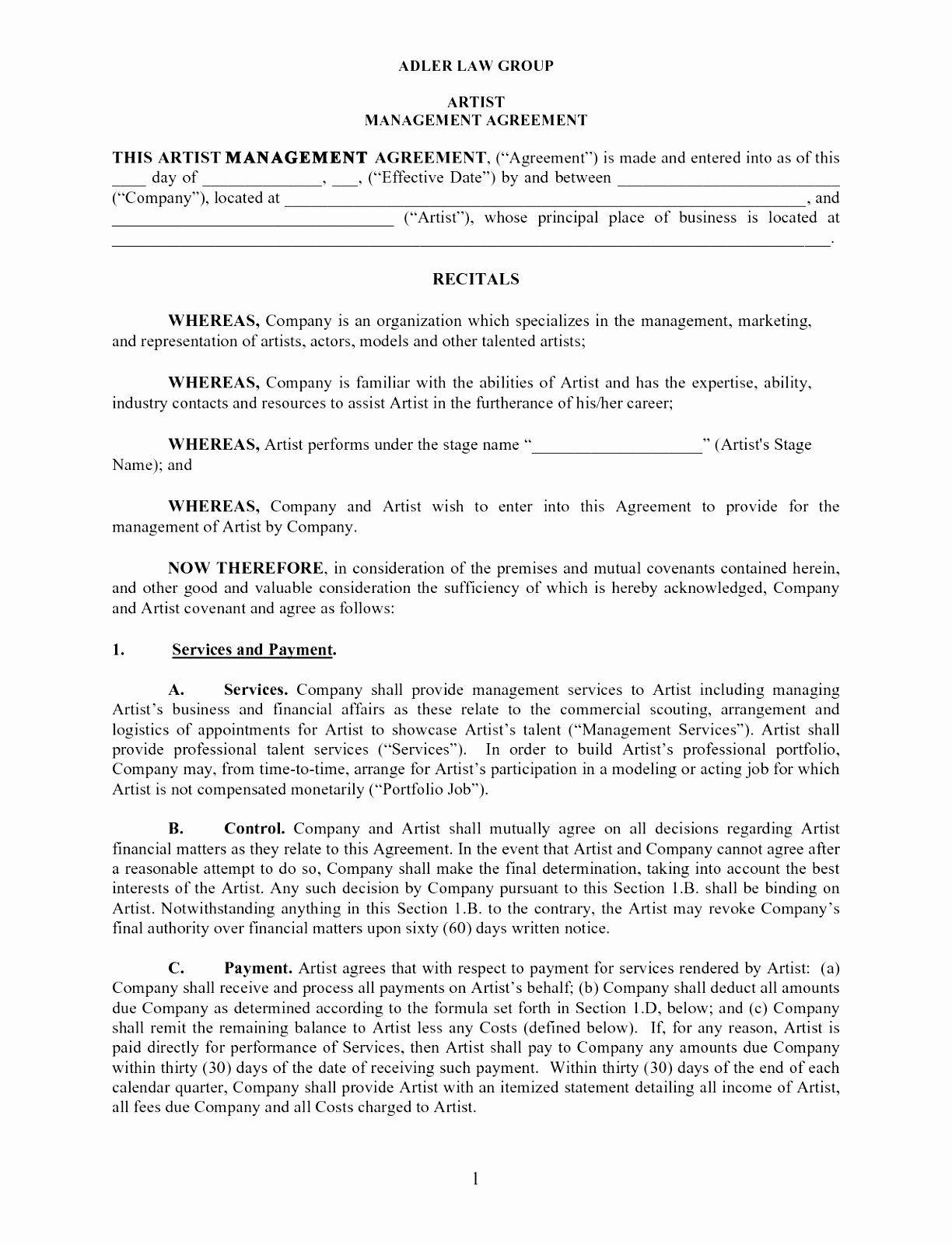 Artist Management Contract Template Elegant 6 Artist Management Contract Template Spqpe Contract Template Artist Management Business Contract Templates Artist management contract template pdf