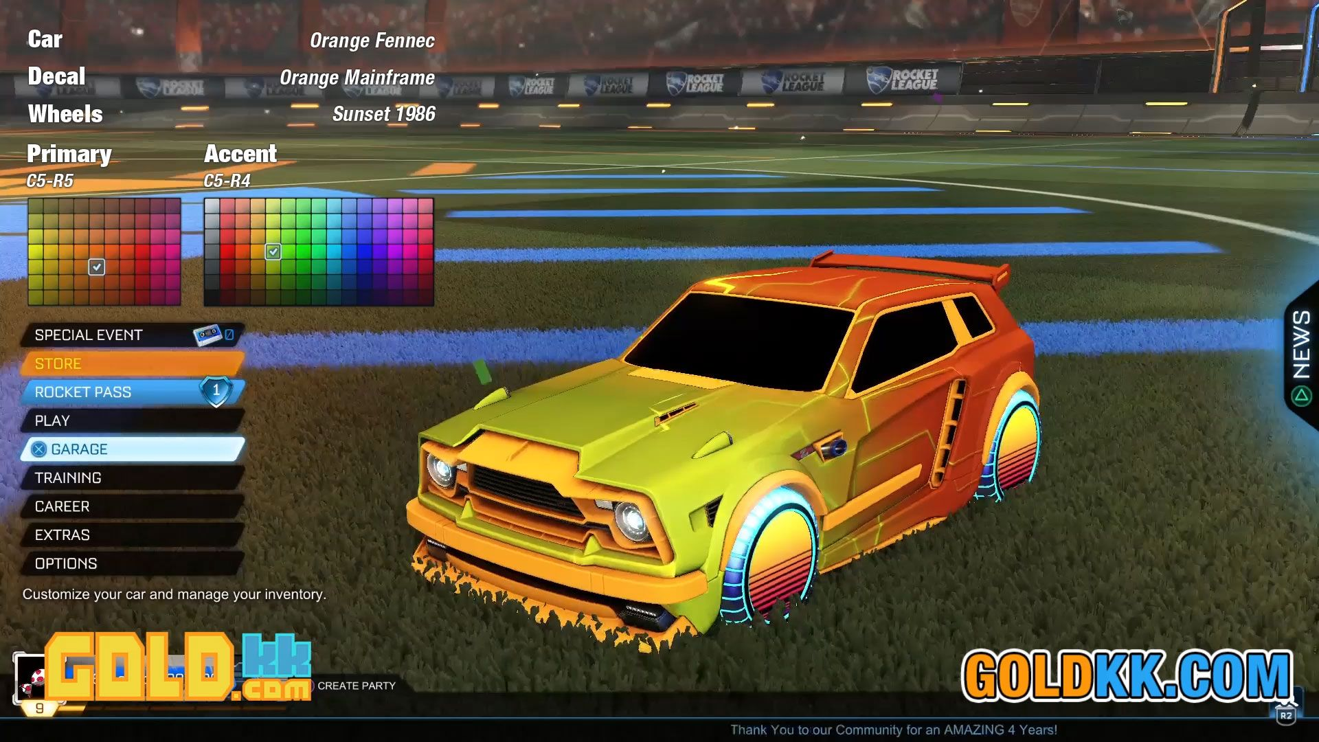 Car Orange Fennec Decal Orange Mainframe Wheels Sunset