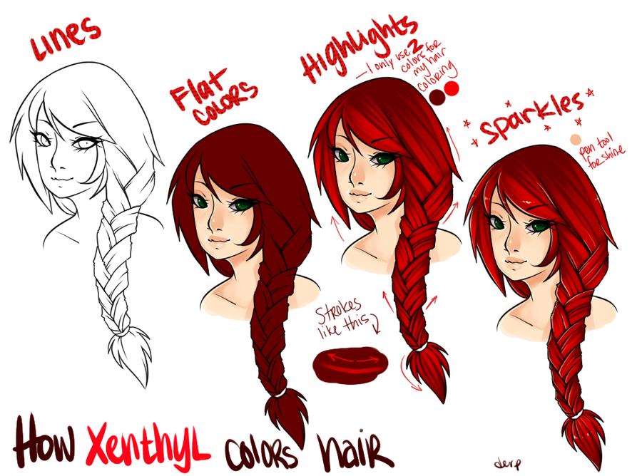 Awe Inspiring How I Color Hair By Xenthyl On Deviantart Drawing References Hairstyle Inspiration Daily Dogsangcom