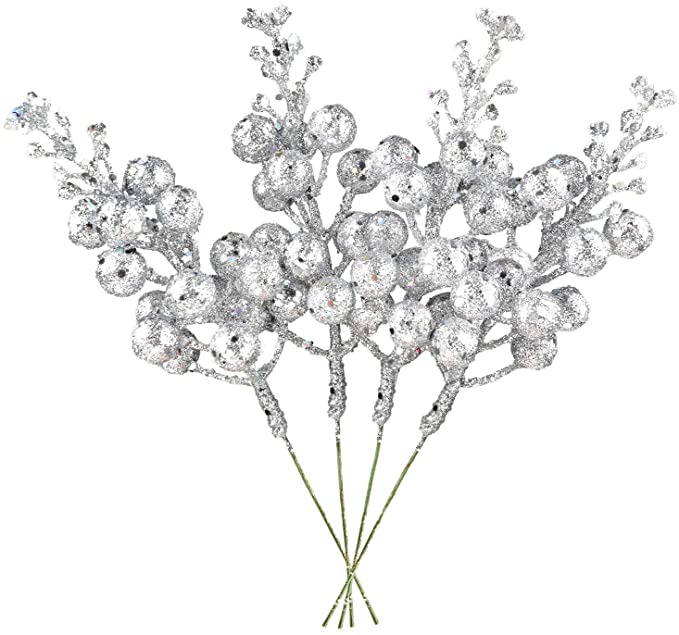 Amazon Com Dearhouse 14 Pack Christmas Glitter Berries Stems 7 8inch Silver Artificial Christmas Picks For Chr Glitter Christmas Xmas Wreaths Christmas Picks