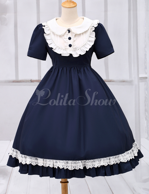 3dda87c8b862 Lolitashow Marineblaue Lolita einteiliges Kleid Kurzarm Turndown Kragen Lace  Trim