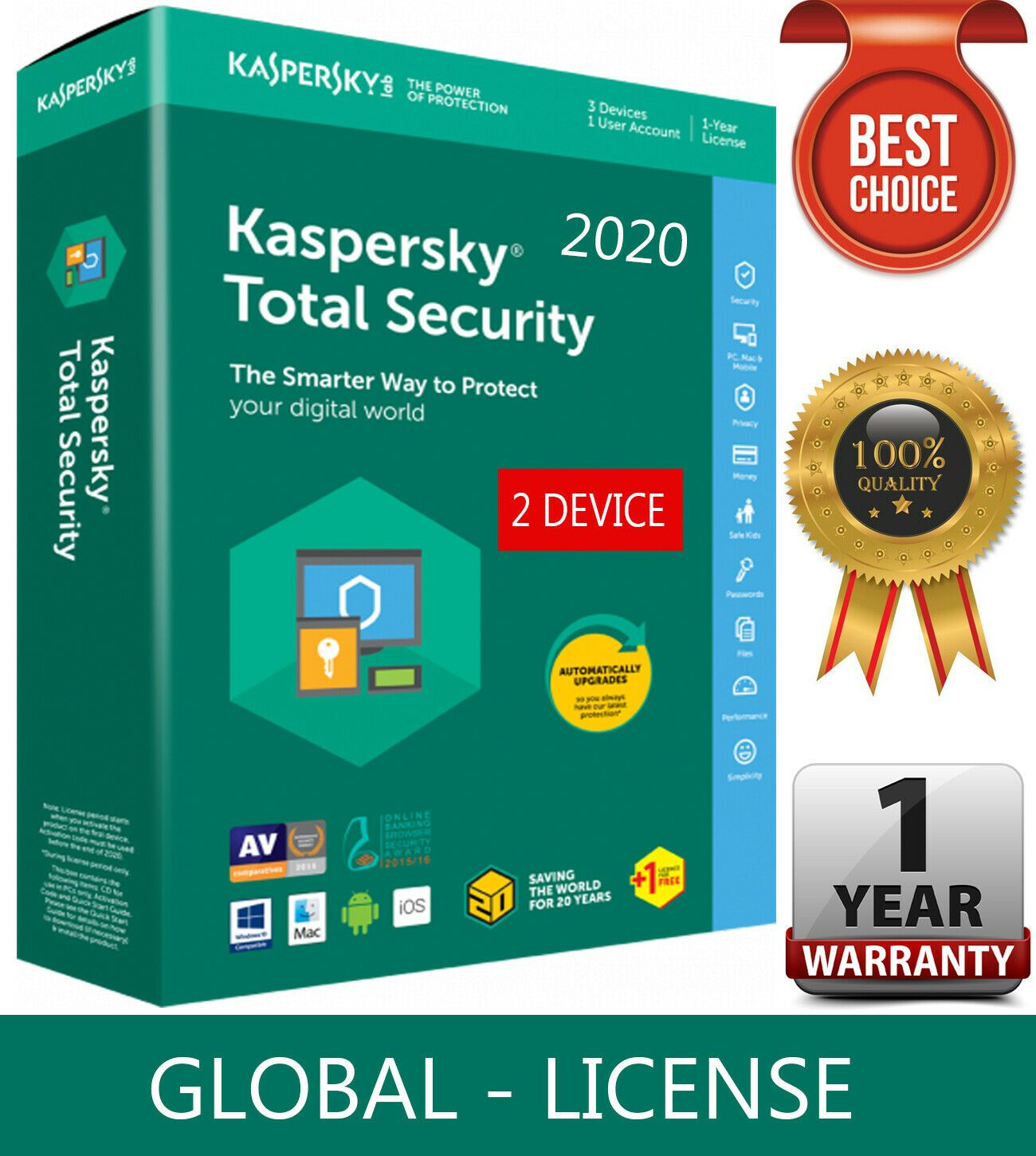 Kaspersky Total Security 2020 2 Device 1 Year Global Key Download 10 54 In 2020 Security Devices Global