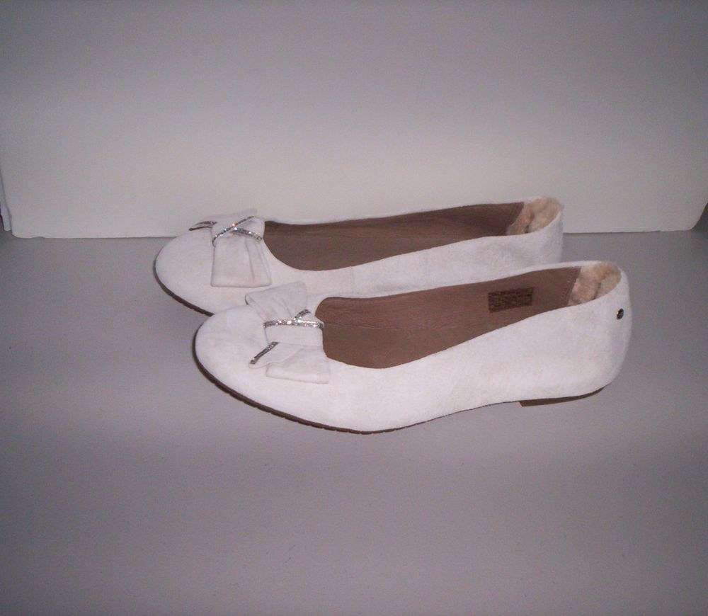 e455331a09f UGG Australia Jacqueline Off White Leather Ballet Flats Women's Sz ...