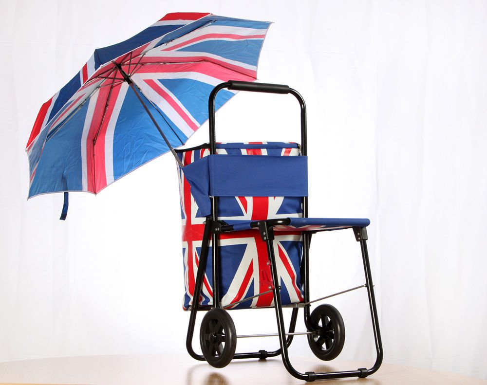 Sit And Go Shopping Trolley With Seat Umbrella And Cool Bag Union Jack