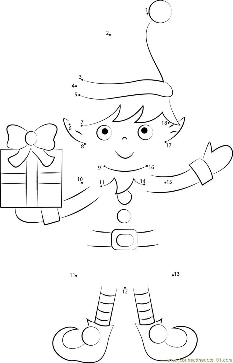 Christmas Elf Connect Dots Christmas Elf Santa Coloring Pages Pokemon Coloring Pages