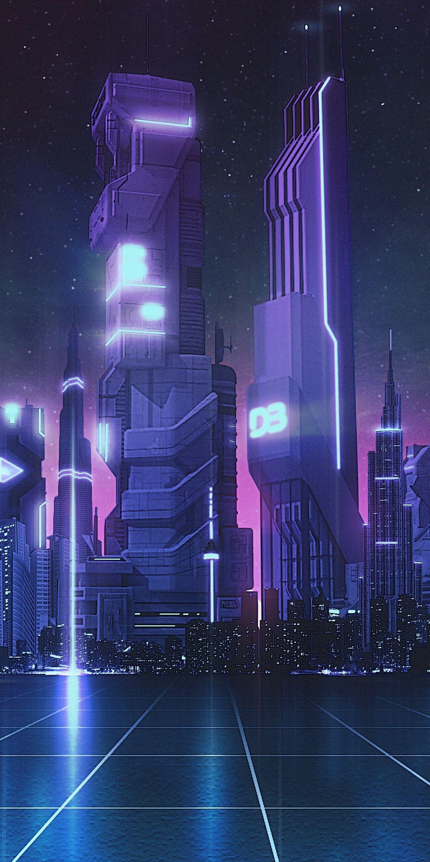 1440x2880 Future city, bluish theme, digital art wallpaper