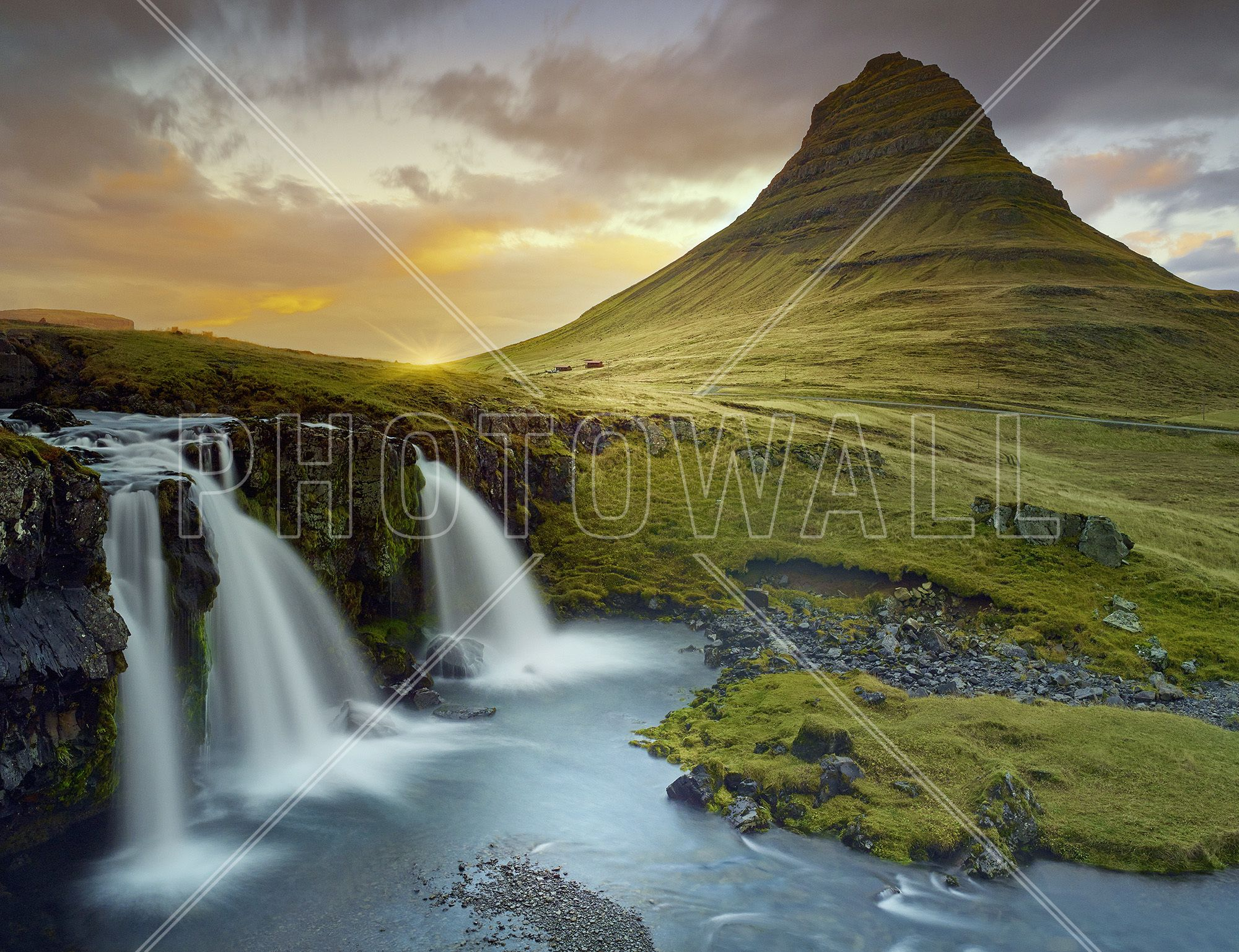 Three Waterfalls Iceland Wall Mural