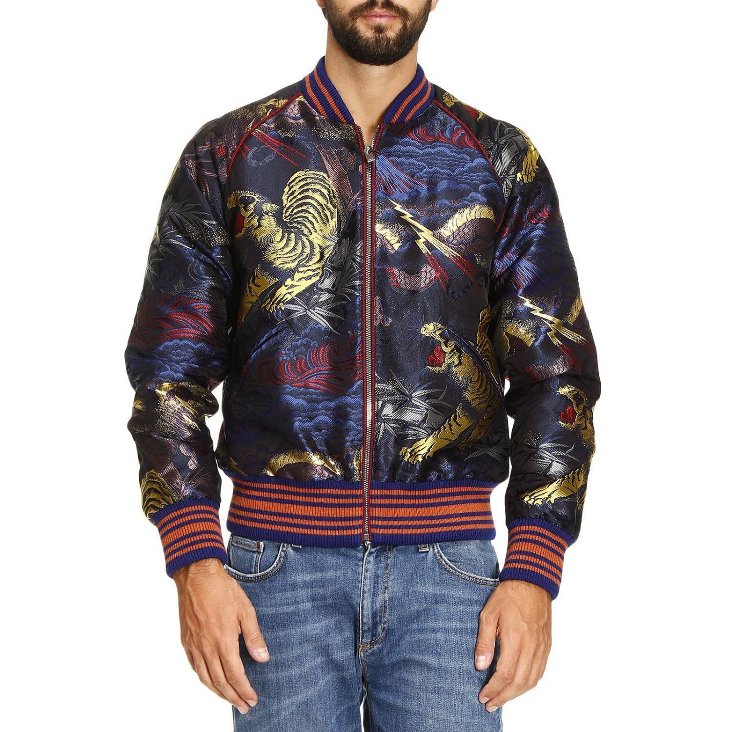 GUCCI JACKET SILK MIXED BROCADE BOMBER JACKET WITH TIGER