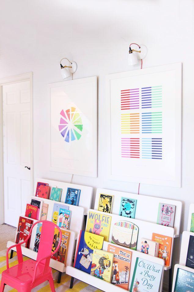 How to create a colorful library for kids, playroom, land of nod, @psstudio, pencil shavings studio www.pencilshavingsstudio.com