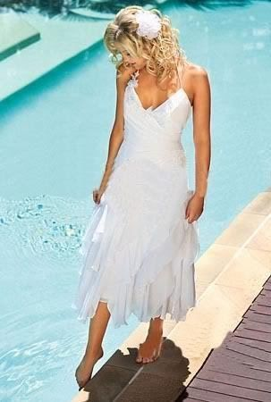 Vow Renewal Dress White Chiffon Beach Halter Wedding Bridesmaid Hot Ebay