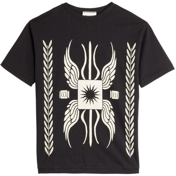 Fausto Puglisi Gladiator Printed Cotton T-Shirt (€84) ❤ liked on Polyvore featuring tops, t-shirts, black, short sleeve t shirts, short sleeve tees, short sleeve tops, black cotton top and round neck t shirt