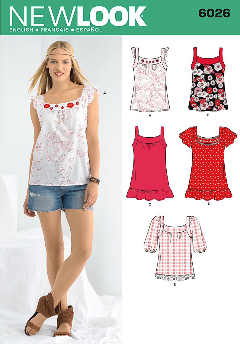 New Look Pattern: NL6026 Misses\' Tops — jaycotts.co.uk :: Sewing ...