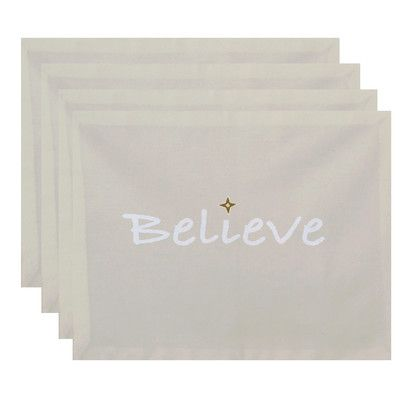 The Holiday Aisle Believe Print Placemat Color: Cream