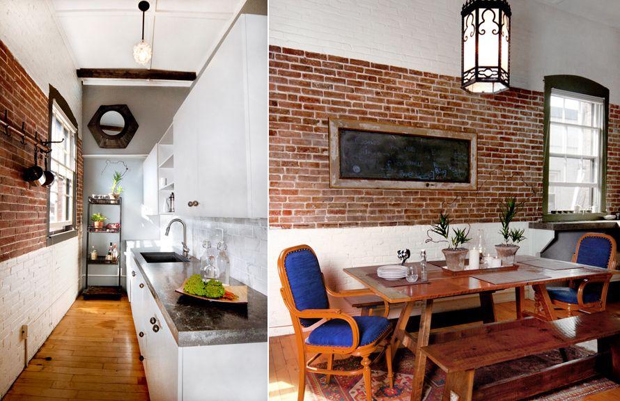Love The Idea To Paint The Bottom Half Of The Brick Such A Cute Narrow Kitchen And Love The W Interior Design Lounge Pub Interior Design Bar Interior Design