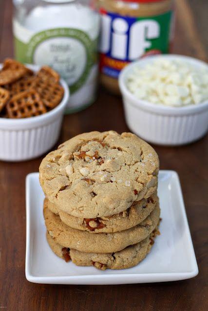 Salted white chocolate, pretzel & peanut butter cookies